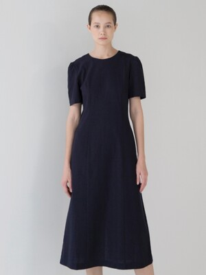 Puff Sleeve Line dress - Navy