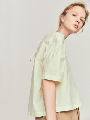 volume back ribon shirts_cream lemon