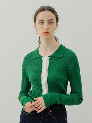 COLOR RIB CARDIGAN_GREEN