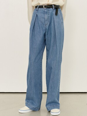 GASIRI Wide fit denim pants (Light blue)