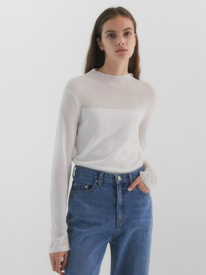 Rene Seethrough Knit_White