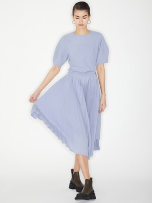 DETACHABLE PLEATS DRESS_BLUE