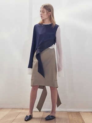 17SS ASYMMETRIC ZIP MIDI SKIRT(SAGE GREEN)