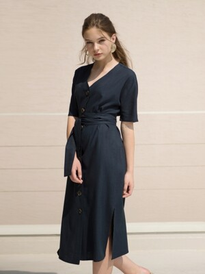 17RESORT V-NECK BUTTON ROBE DRESS NAVY