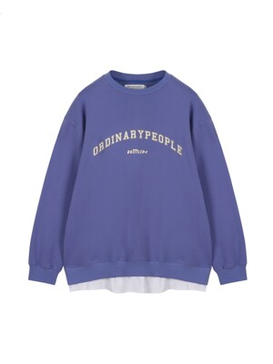ORDINARY T-SHIRT LAYERED PURPLE SWEAT SHIRT