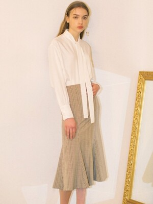 Check Flared Skirts - Beige