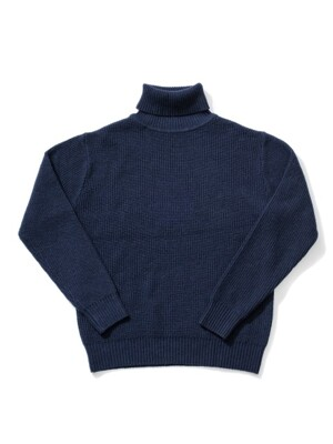 Wool80 Turtle neck Knit - Navy
