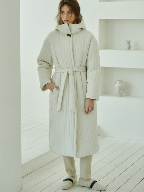 hooded padding long coat