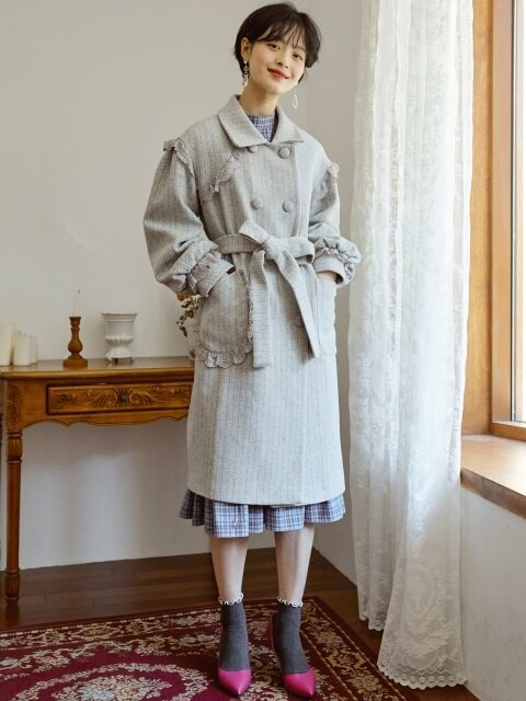 ROCOCO DOUBLE BREASTED COAT _ GREY