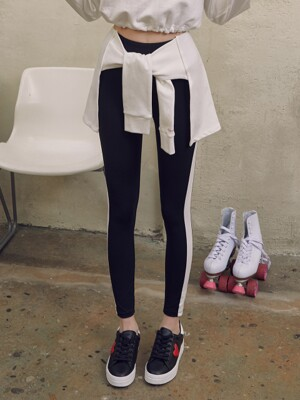 (LS-19166) TIED-UP LEGGINGS WHITE