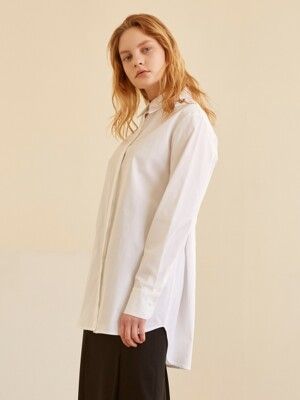 19SS BACK BELTED LONG SHIRT WHITE