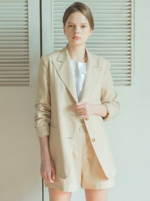 Herringbone Linen Set-up Jacket