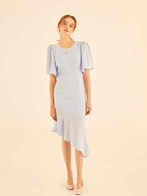 Shine flare dress[sky blue]