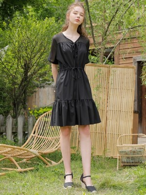 SHOULDER CHIFFON ONE-PIECE_BLACK