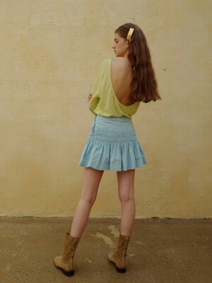 Smocking mini skirt_Baby blue