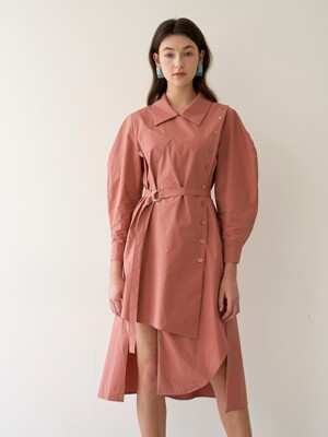 VOLUME SLEEVE SHIRT DRESS DRIED ROSE