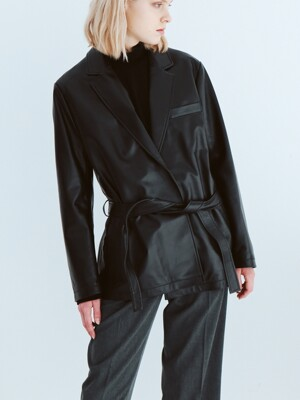 Lamb skin belt blazer black