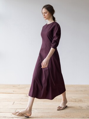 Shirring Detailed Dress_Burgundy
