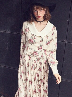 Shawl Collar Floral Velvet Dress