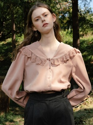 monts 1014 mesh lace blouse (pink)