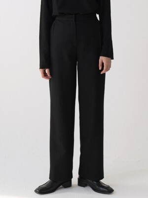 wool banding slacks (black)