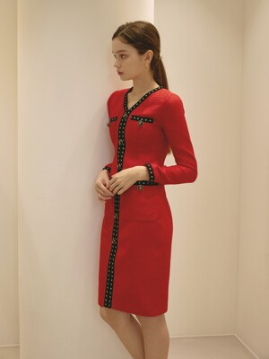 HERA DRESS / TWEED TRIMMING V-NECK DRESS (red)