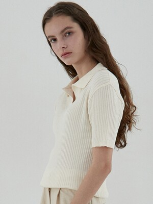 ouie312 cotton collar knit (cream)