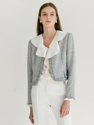CLAIRE Fringe detail round-neck tweed jacket (White & Deep Navy Tweed)