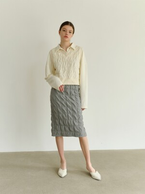 A2 SQUARE MIDI SKIRT_GY