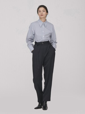 Belted Relax Pants_D.Navy(Viscose)