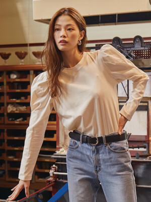 SSANGMUN Puffed long sleeve T-shirt (Ivory)