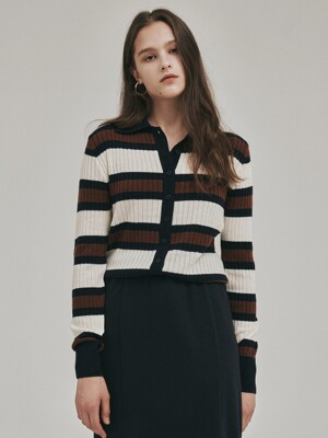 Harrow Cashmere Stripe Cardigan_2colors