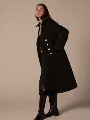 Sailor collar button coat - Black