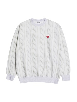 [기모]NOMANTIC CABLE PRINT SWEAT SHIRTS IVORY
