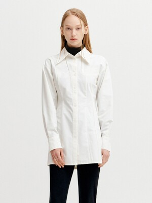VOLUME SLEEVE LINE LONG SHIRT - WHITE