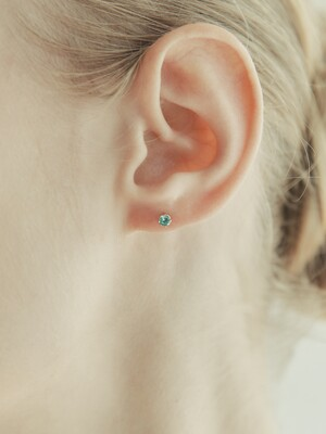 [단독] 14k gold Crystal cubic basic piercing (14k 골드) b12