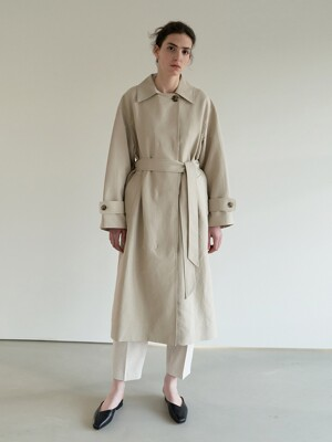TOS COLLAR DOUBLE TRENCH COAT BEIGE