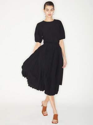 DETACHABLE PLEATS DRESS_BLACK