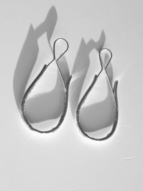Pottery bone earring - silver