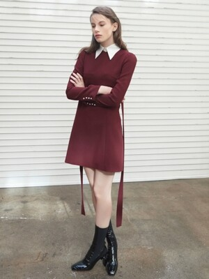 DETACHABLE COLLAR MINI DRESS WINE
