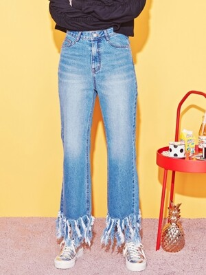 TASSEL DENIM PANTS-BL