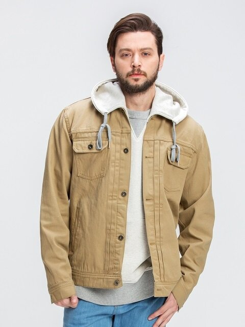 Stand collar trucker jacket _ beige