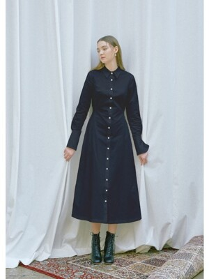 FIRENZE long sleeve shirt dress (Navy)