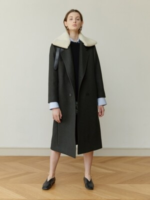 18FW DETACHABLE-SHEARLING-COLLAR COAT (BOTTLE GREEN)