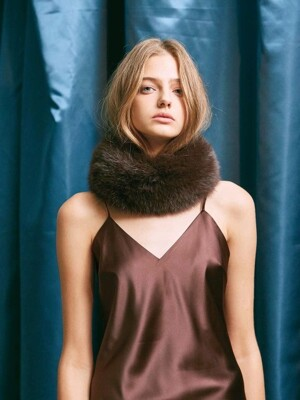 HIGH QUALITY GENUINE FOX FUR SCARF. BROWN