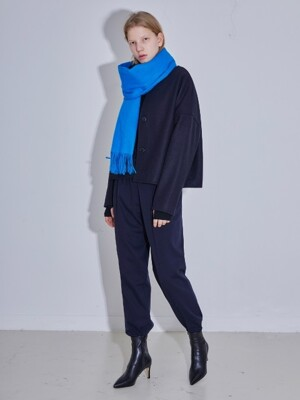 WOOL DROP HALF COAT - NAVY
