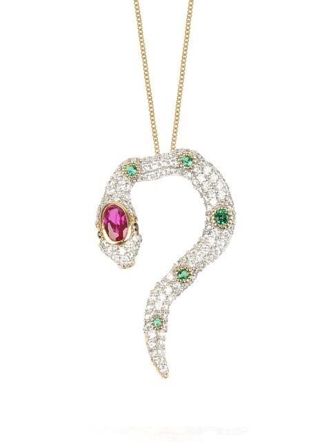KISS OF THE SNAKE NECKLACE - CRYSTAL -