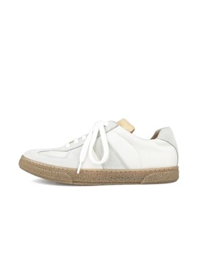 REAL LEATHER TRAINER - vintage white