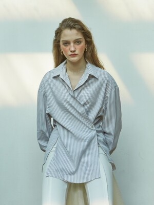 2 Way Stripe Wrap Shirt_ White