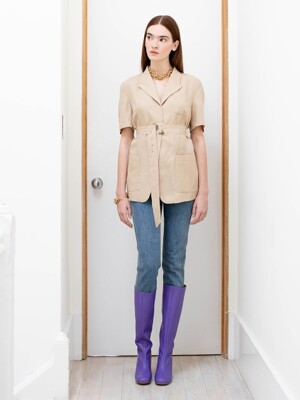 GRAMACY out pocket short sleeve blazer (Royal Beige)